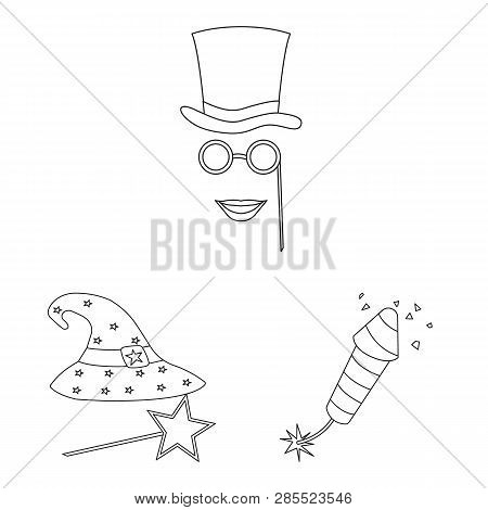 Vector Illustration Of Party And Birthday Sign. Set Of Party And Celebration Vector Icon For Stock.