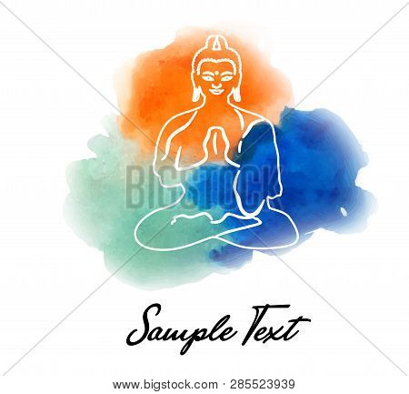 Illustration With Budha On A Yoga Theme With Watercolor.