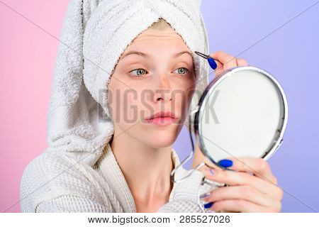 Girl Makeup Process. Eyebrows Beauty Care Concept. Beauty Tools. Correction Procedure In Beauty Salo