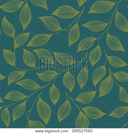 Wrapping Tea Leaves Organic Seamless Pattern Vector. Cute Tea Plant Bush Green Leaves Floral Fabric