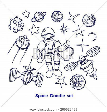 Vector Cosmic Set Of Space In Cartoon Style. Futuristic Art Line Doodle Illustration Graphic Collect