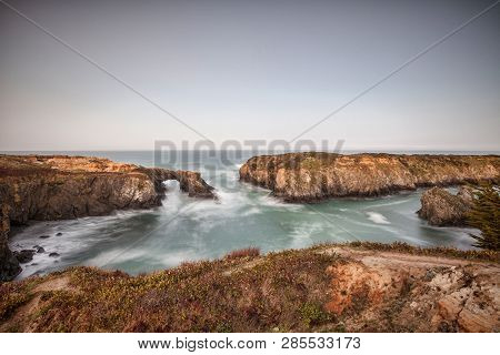 Mendocino Headlands, California Usa At Dawn In Spring.