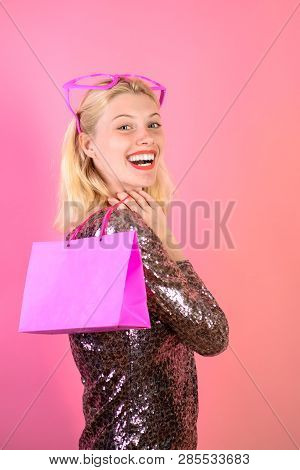 Happy Woman Holds Shopping Bag. Excited Beautiful Girl In Dress With Shopping Bag. Shopping Girl. Sm