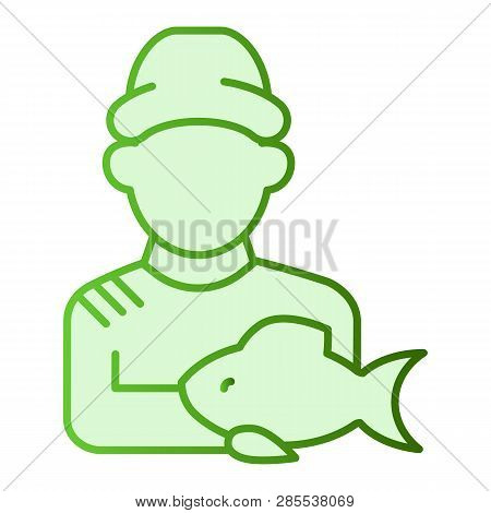 Fisher And The Catch Flat Icon. Angler Green Icons In Trendy Flat Style. Fisherman With Fish Gradien