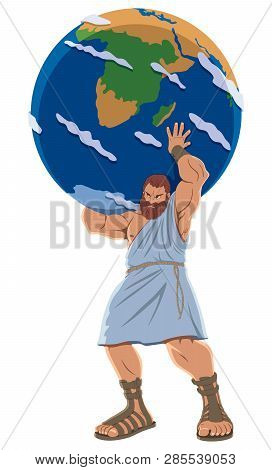 The Titan Atlas Holding The Earth Globe.
