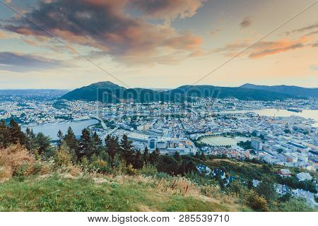 Cityspace. View From Hill Of City Bergen And Fjord Landscape Evening Scenery, Norway
