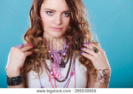 Pretty Young Woman Wearing Bracelets Rings And Many Plentiful Of Precious Jewelry Necklaces Beads. G