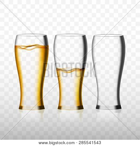 Empty And Full Beer Glass For Drinking Alcohol Beverage And One Empty Glass. Realistic  3d Illustrat