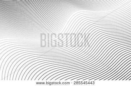 Abstract Diagonal Curve Line Texture Or Grey Lined Pattern