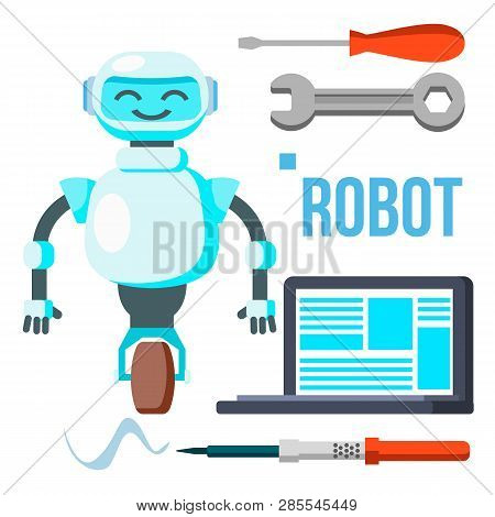 Robot With Laptop Vector. Homemade Assistant Helper. Isolated Flat Cartoon Illustration