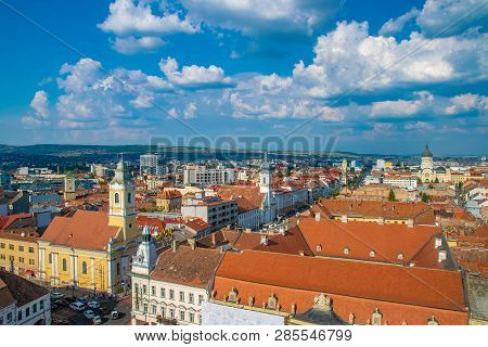 Cluj-napoca, Romania - August 21, 2018: Cluj-napoca Overview Viewed From St. Michaels Church With  E