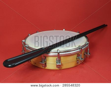 Close-up Of A Tamborim And Drumstick, A Brazilian Percussion Musical Instrument. It Is Widely Used T