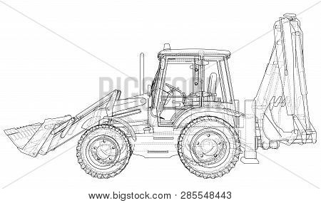 Sketch Of Loading Shovel With Back Actor. Vector Rendering Of 3d. Wire-frame Style. The Layers Of Vi