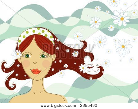 Green Eyed Girl With Flowers In Spa (Vector)