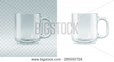 Empty Transparent Glass Mug Mockup. Realistic 3d  Illustration Of Blank Glassy Tankard Or Classic Co