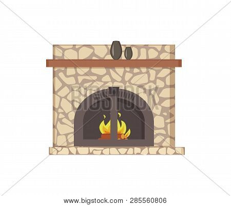 Fireplace With Wooden Shelf And Decor Vases Isolated Icon Vector. Paved Construction With Traditiona