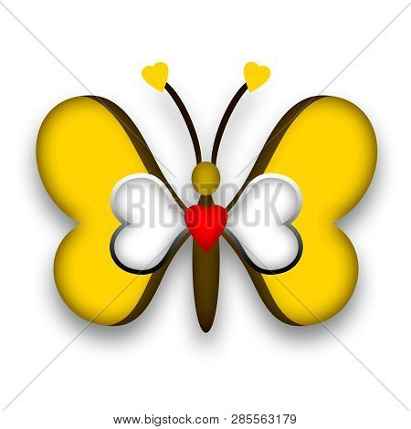 Decorative Yellow Butterfly With Romantic Loving Heart