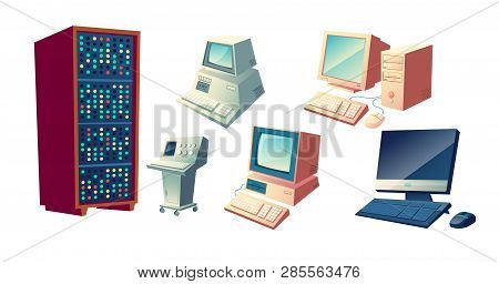 Computers Evolution Cartoon Vector Concept. Vintage Old Computing Stations, Retro System Units And M