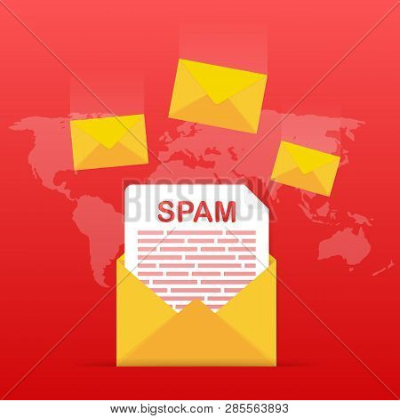 No Spam. Spam Email Warning. Concept Of Virus, Piracy, Hacking And Security. Envelope With Spam. Vec