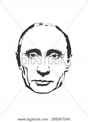 February 19, 2019: The Black And White Illustration Of A Head Of President Vladimir Putin, Eps 8, Ed