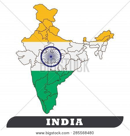 India Map And India Flag. India Map And India Flag Use For Background Drawing By Illustration