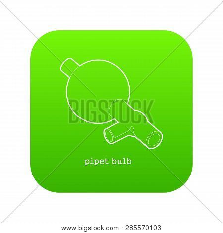 Pipet Bulb Icon Green Vector Isolated On White Background