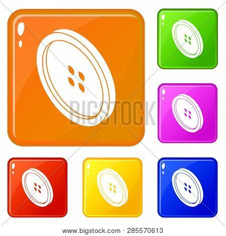 Small Shirt Button Icons Set Collection Vector 6 Color Isolated On White Background