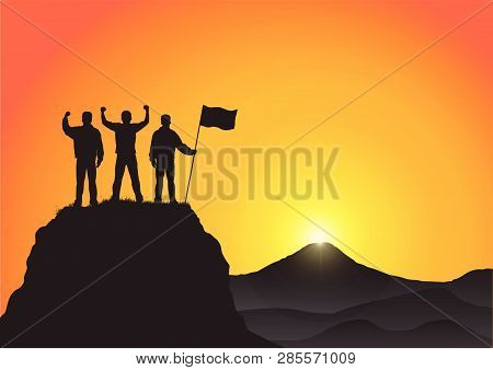 Silhouette Of Three Young Men Standing On Top Of The Mountain With Fists Raised Up And Holding Flag