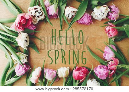 Hello Spring Text Sign On Beautiful Double Peony Tulips Frame Flat Lay On Wooden Table. Springtime.