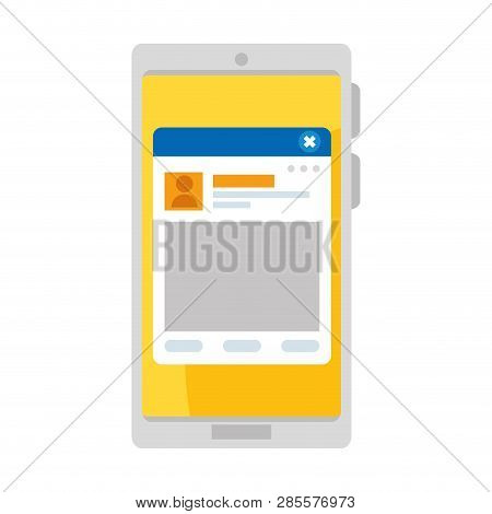 Smartphone With Webpage Template Vector Illustration Design