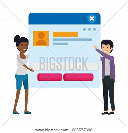 Couple With Webpage Template Characters Vector Illustration Design