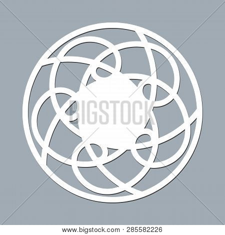 Layout Template Lace Napkin For Laser Paper Cutting Round Pattern Ornament Mockup Of A White Lace Do
