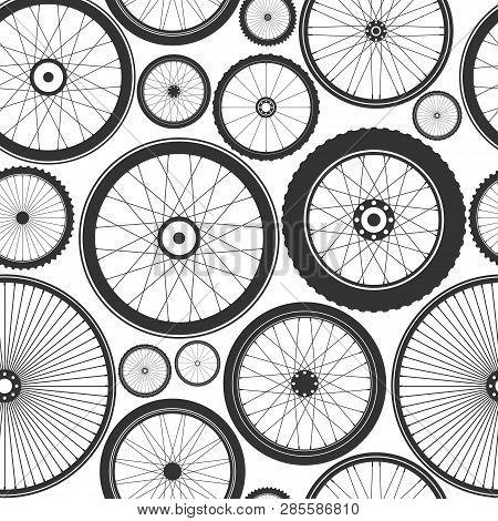 Bicycle Wheel Seamless Pattern. Bike Rubber Mountain Tyre, Valve. Fitness Cycle, Mtb, Mountainbike.