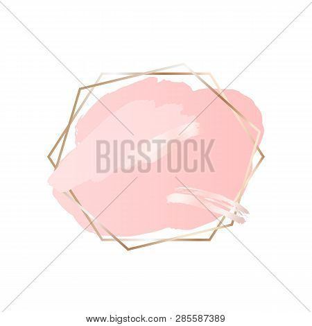 Abstract Pink Brush Background With Hexagons Geometric Frame Rose Gold Color. Logo Background For Be