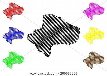 Qom Province (provinces Of Iran, Islamic Republic Of Iran, Persia) Map Vector Illustration, Scribble