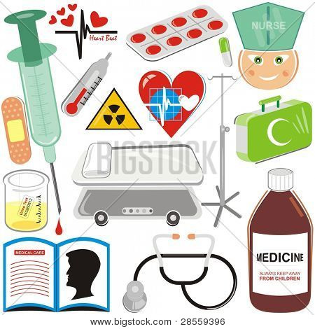 VECTOR - Medical Icons Set - Pill, Injection, Blood Drop, Hospital Bed, Stethoscope, plaster, First Aid Kit, Nurse, Medical Book, Syrup, thermometer, Urine Sample, Heart Pulse Sign, Medicine, trestle