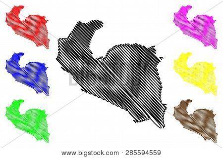 South Khorasan Province (provinces Of Iran, Islamic Republic Of Iran, Persia) Map Vector Illustratio