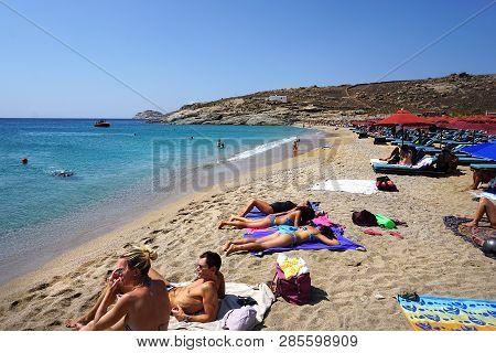 Mykonos, Greece, September 10 2018, Lia Beach Is A Tourist Resort Far From Chora But Perhaps It Is T