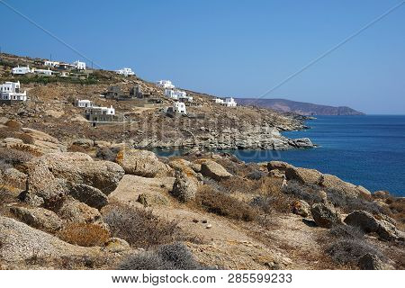 New Luxurious Buildings For Tourists At Lia Beach In Mykonos, Greece Which Show The Turbulent Touris
