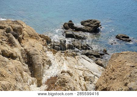 Rock Formation Found At Lia Beach In Mykonos, Greece That Make Clear The Effect Of Sea Erosion