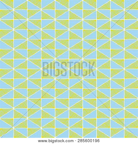 Hand Drawn Lime Green And Blue Geometric Mosaic Design With Doodle Texture. Seamless Vector Pattern