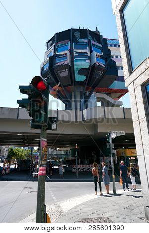 Berlin, Germany - June 08, 2018: Road Junction In Berlin-steglitz With The Landmark Bierpinsel, A Fo