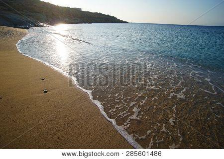 Beautiful Panoramic View Of Lia Beach Bay In Mykonos, Greece