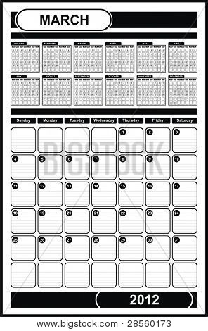 VECTOR - Calendar Design 2012 - March