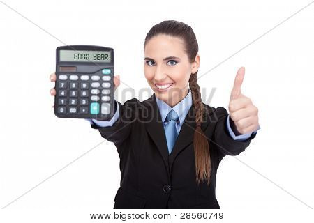good year -  accountant holding a calculator and showing thumb up,  isolated on white background
