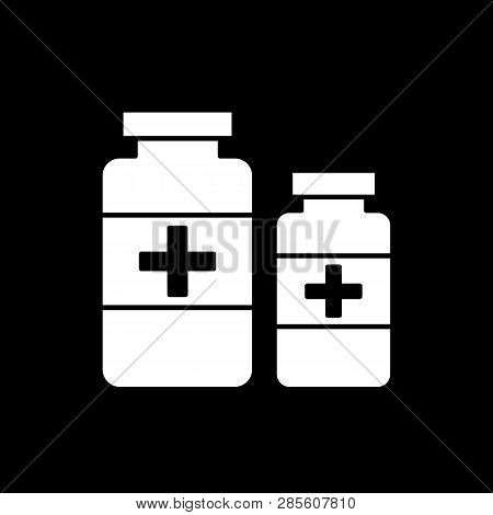 Flat Monochrome Medicine Bottles Symbol For Web Sites And Apps. Minimal Simple Black And White Medic