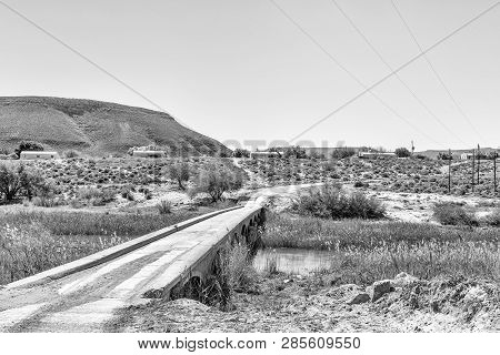 Bridge Over The Doring River On Road R364 In The Western Cape Province Of South Africa. Monochrome
