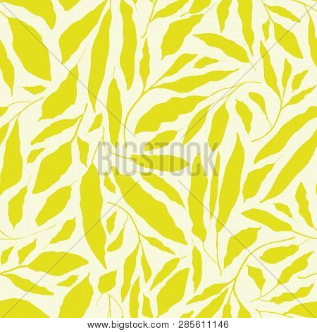 Vibrant Lime Green Hand Drawn Leaves On Neutral Cream Background. Seamless Vector Design With A Fres