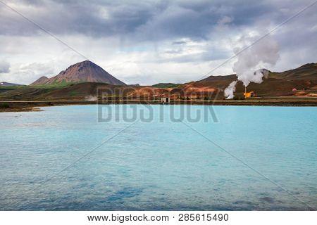 Krafla geothermal power plant, the largest Iceland's power station near lake Myvatn, Northeastern Iceland, Scandinavia