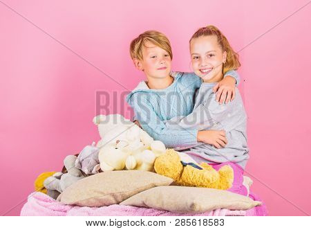 Best Friends Brother And Sister. Kids Siblings Friends Hug Pink Background. Children Friends Near Te